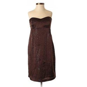 Shoshanna Brown & Gold Strapless Cocktail Dress
